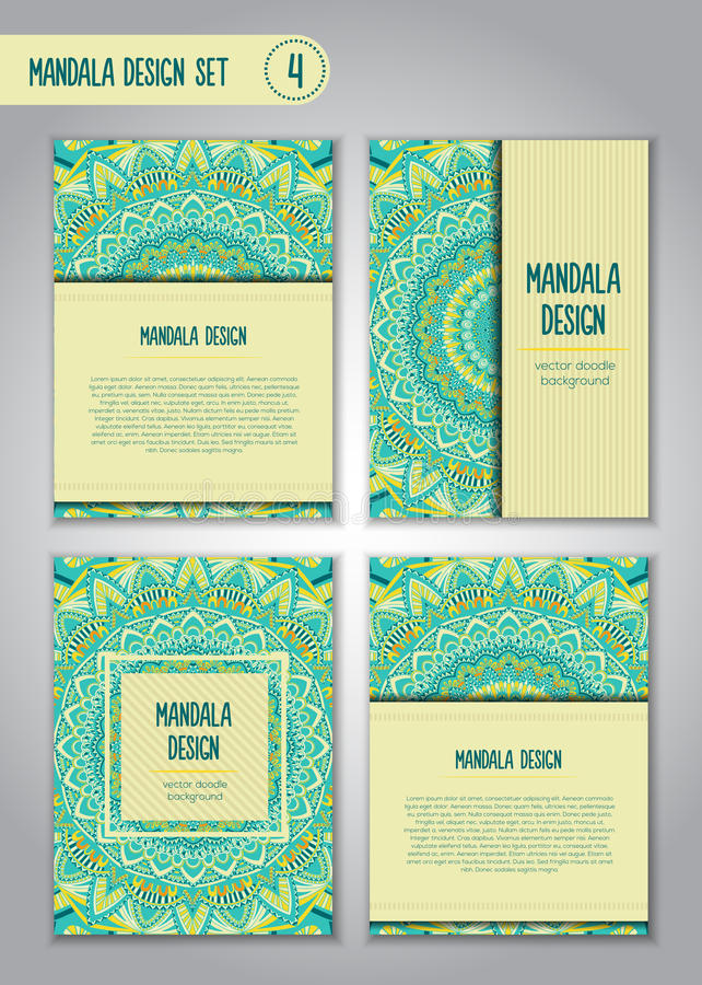 Tribal mandala design set. Vintage decorative elements. stock photos