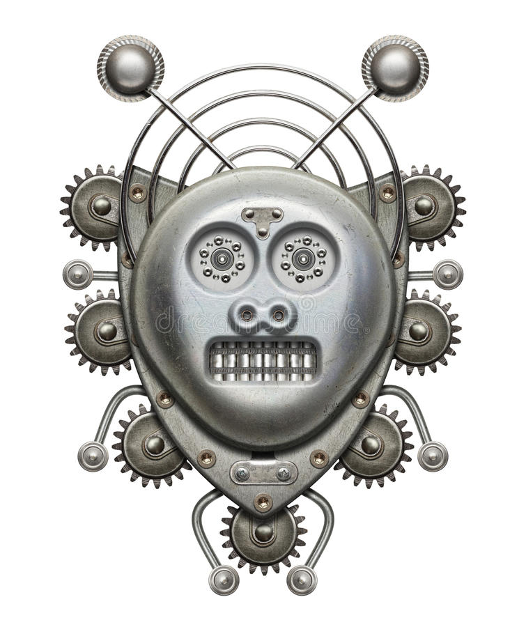 Tribal mask. Metal collage, isolated stock photos
