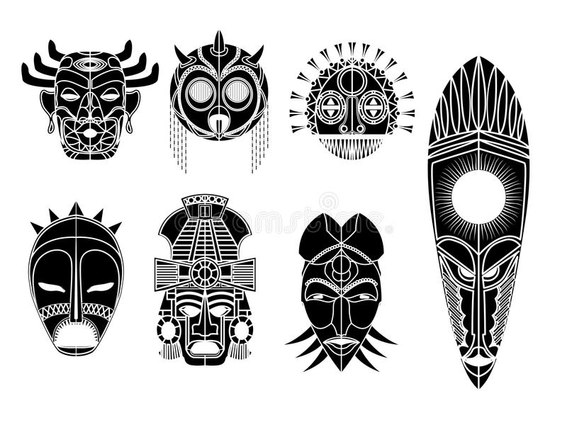 Tribal mask set. Tribal masks, ornamental elemets set over white background vector illustration
