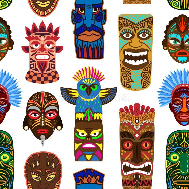 Tribal mask vector masking ethnic culture and aztec face masque illustration set of traditional aborigine masked symbol. Isolated on background stock illustration