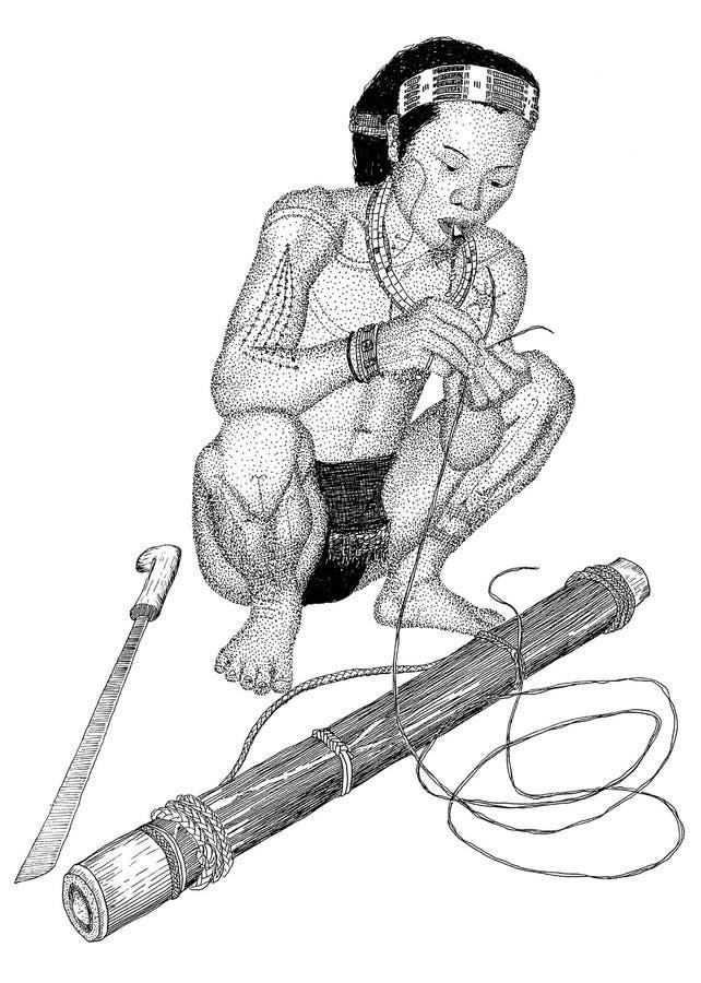 Download Tribal monkey hunter stock illustration. Image of indonesian - 40046037