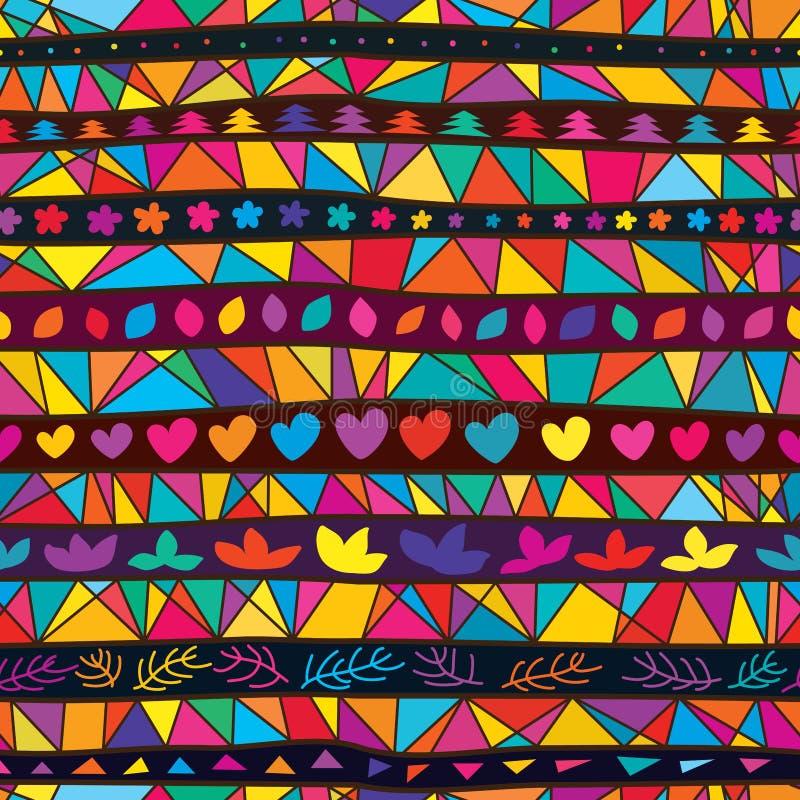 Tribal muchos línea modelo inconsútil de la forma colorida stock de ilustración
