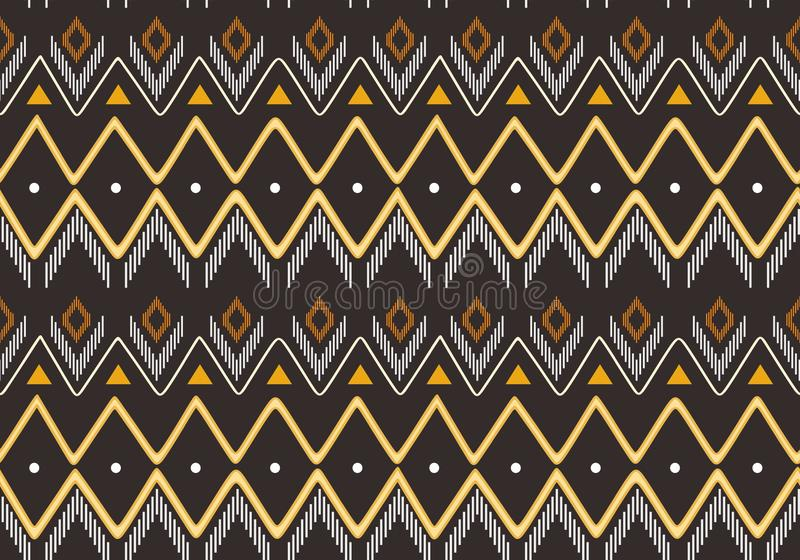 Tribal Navajo ikat vector seamless pattern with hand drawn motifs drawing handmade design textile fashion wrapping ready for print. Black and white colors stock illustration
