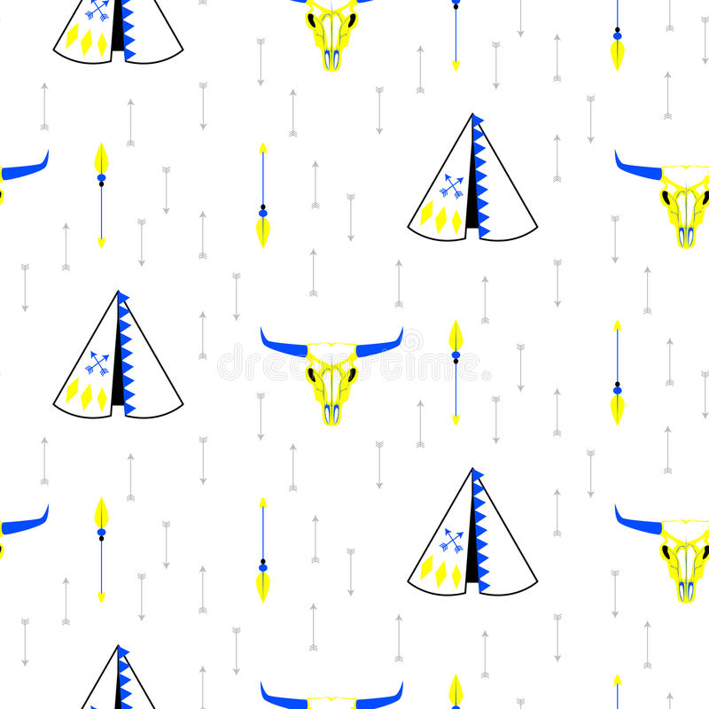 Tribal navajo teepee seamless vector pattern. Tribal navajo teepee seamless pattern. White minimalistic pattern with wigwam, cow head skull and arrows stock illustration