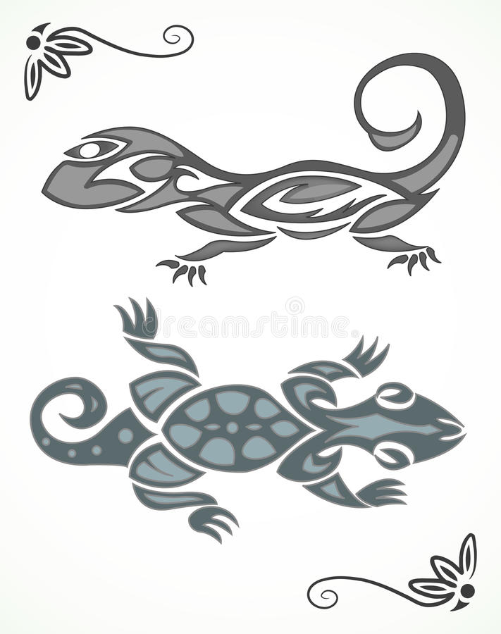 Download Tribal ornament of lizard stock vector. Image of monochrome - 25040167