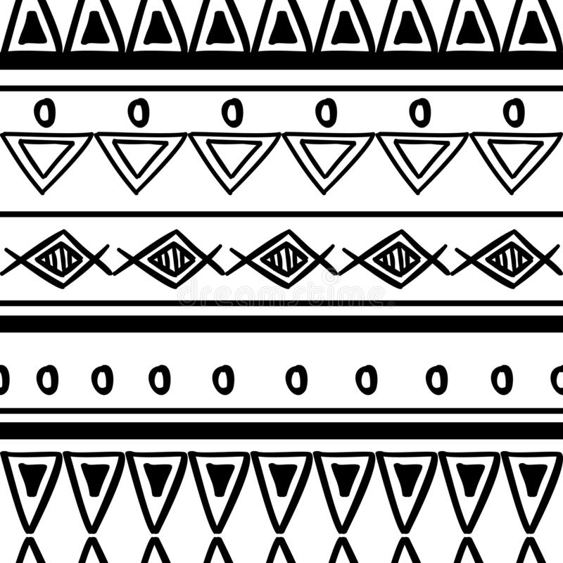 Tribal pattern texture with hand drawn african, aztec, maya creative drawing vector illustration. Black and white stripes patterns royalty free illustration