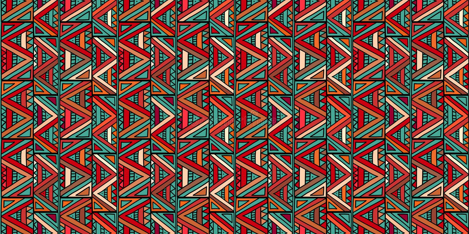 Tribal pattern with triangle colorful ethnic drawing seamless handmade design vector illustration