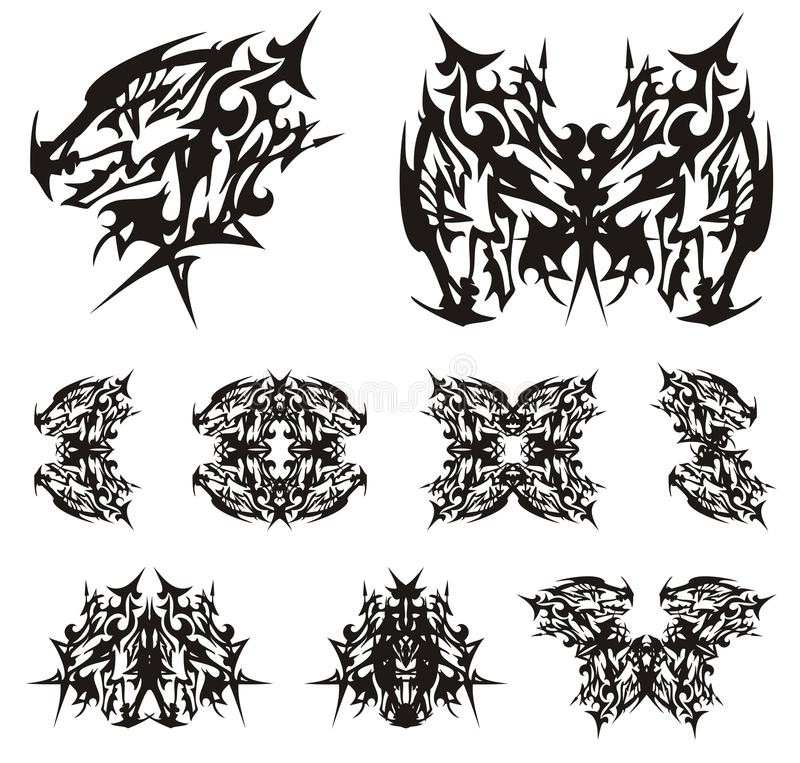 Tribal Peaked Dragon Head Symbols Stock Vector - Illustration of ...