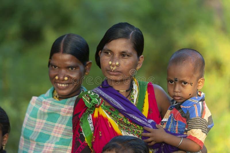 Tribal People attending Procession during Dussera Festival at Jagdalpur,Chhattisgarh,India. Asia stock image