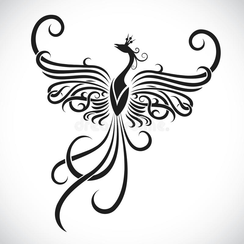 Tribal phoenix tattoo. Vector illustration of tribal phoenix