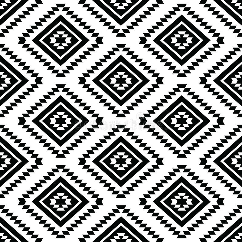 Tribal seamless pattern, aztec black and white stock illustration