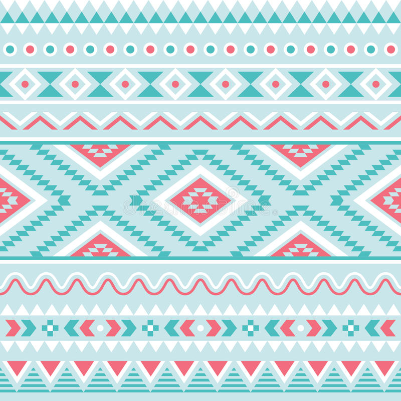 Tribal seamless pattern, aztec blue and pink background vector illustration