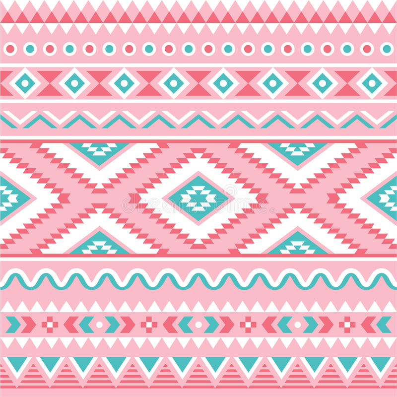 Tribal seamless pattern, Aztec pink and green background vector illustration