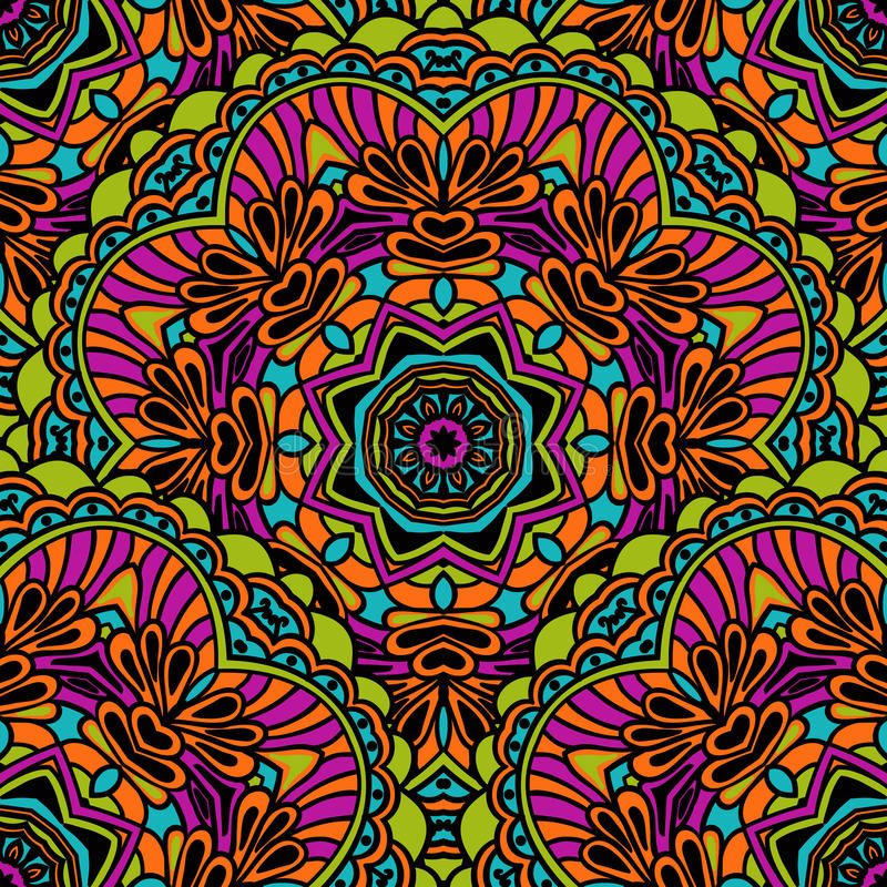 Tribal seamless pattern. Bright colorful colors in Indian ethnic style. Vector illustration stock illustration