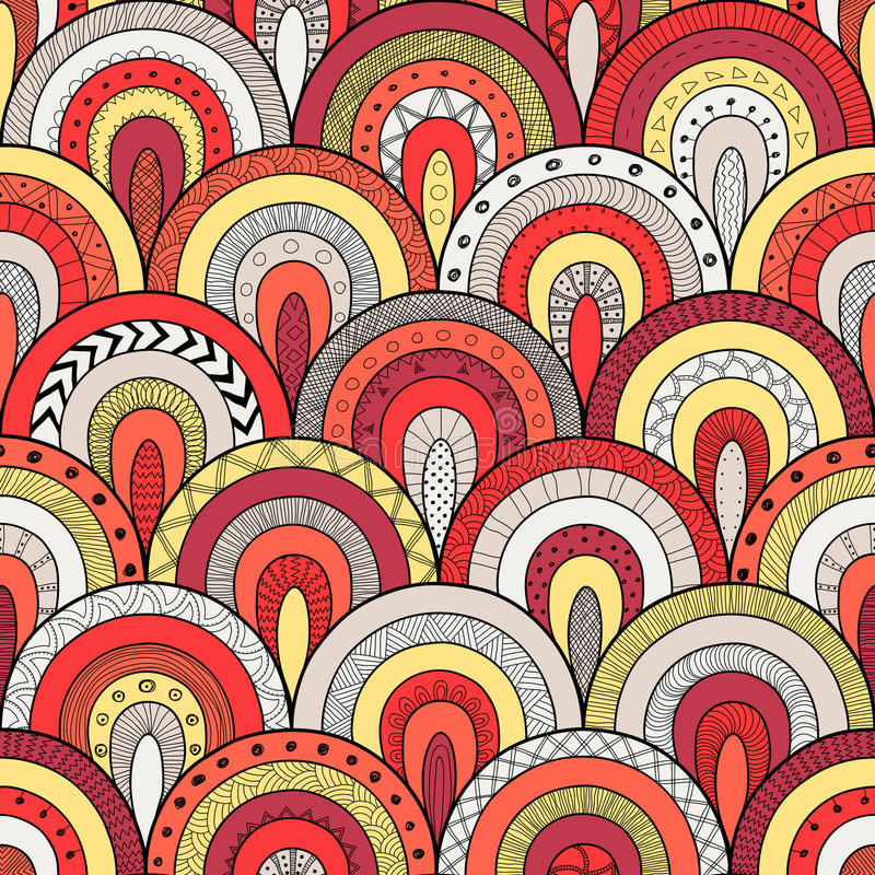 Tribal seamless pattern, indian or african ethnic patchwork style. Round tiles with hand drawn texture. royalty free illustration