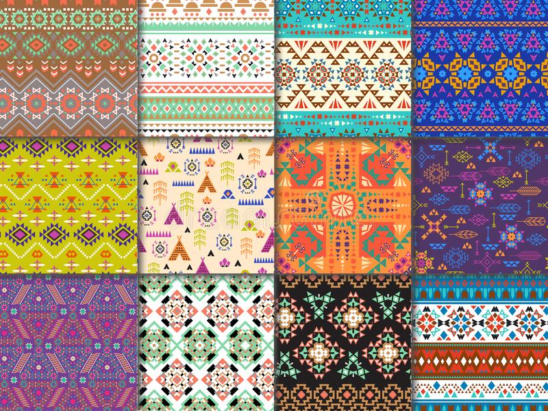 Tribal seamless pattern vector ethnic texture with abstract ornament and geometric print textile for decoration stock illustration