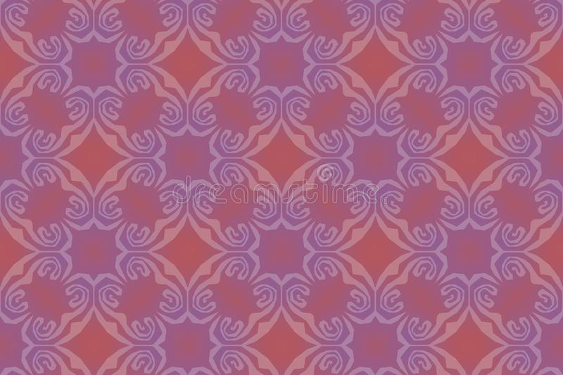 Tribal seamless violet and pale red pattern. Aztec or mayan ethnic seamless ornament. Wallpaper, cloth design, fabric, tissue, stock illustration