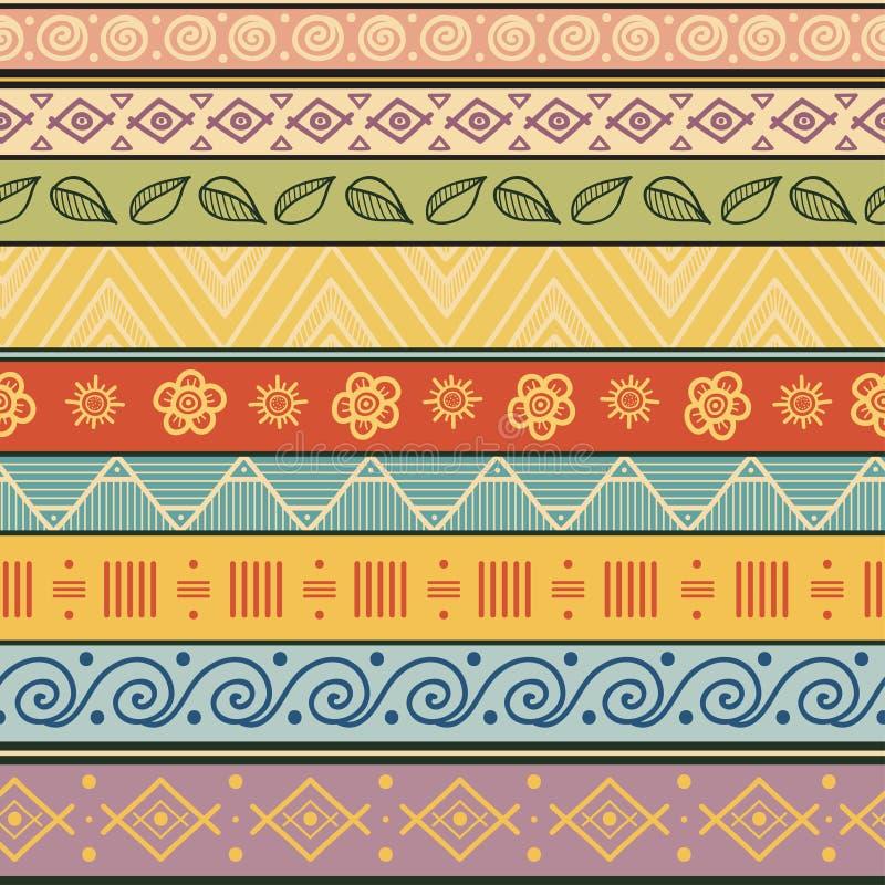 Tribal striped hand drawn seamless pattern. stock illustration