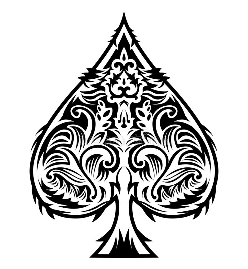 Free Tribal Style Spade Ace Design, Poker Emblem Vector Illustration Royalty Free Stock Images - 140419519