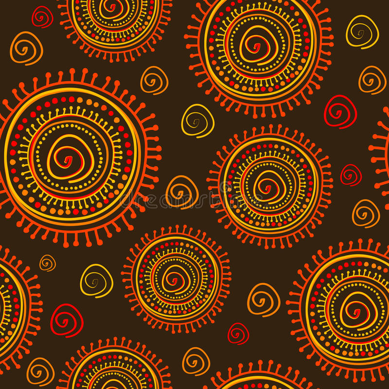 Tribal stylized sun ornament seamless pattern vector illustration