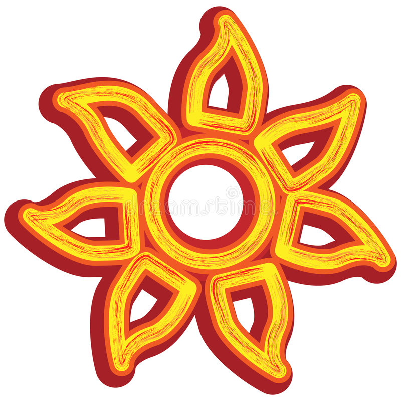 Tribal Sun Icon stock illustration