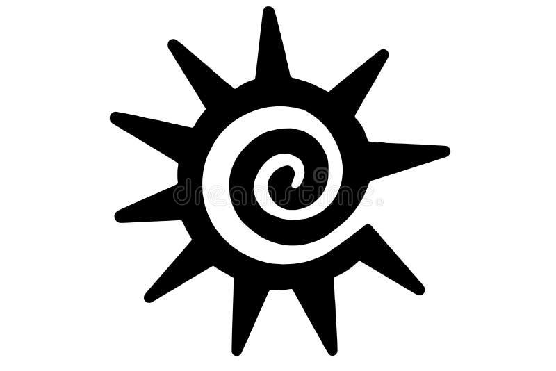 Tribal sun tattoo stock photo