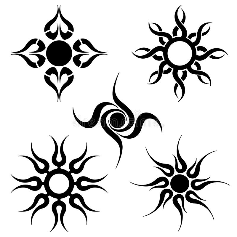 Tribal sun tattoo's vector illustration