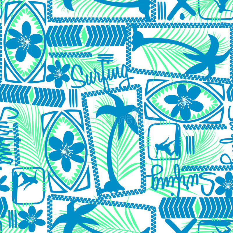 Tribal surfing palm repeat seamless pattern.  vector illustration