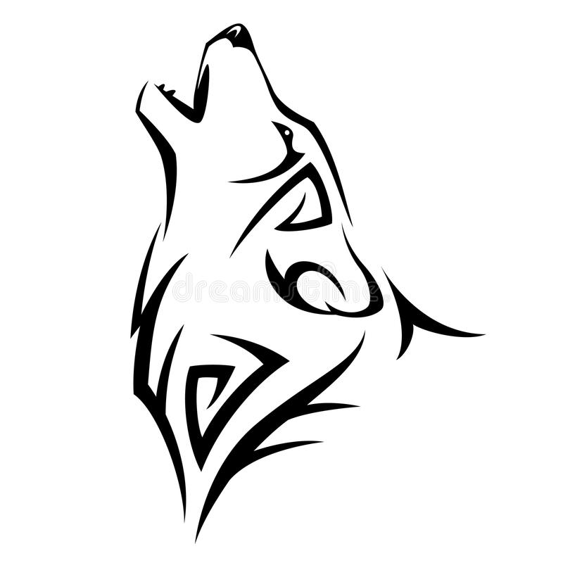 Tribal tatoo. Howl wolf tattoo Tribal Design illustration