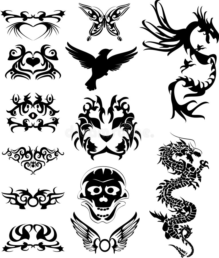 Tribal tatto with dragons stock illustration