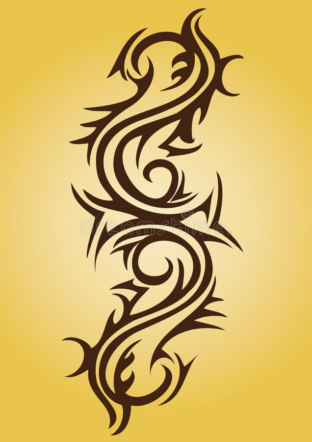 Tribal tattoo design. A tribal tattoo design in a sleeve pattern royalty free illustration