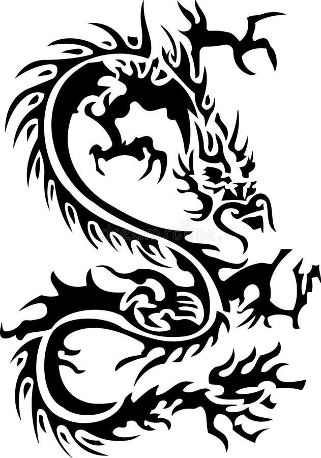 Tribal tattoo of dragon stock photos