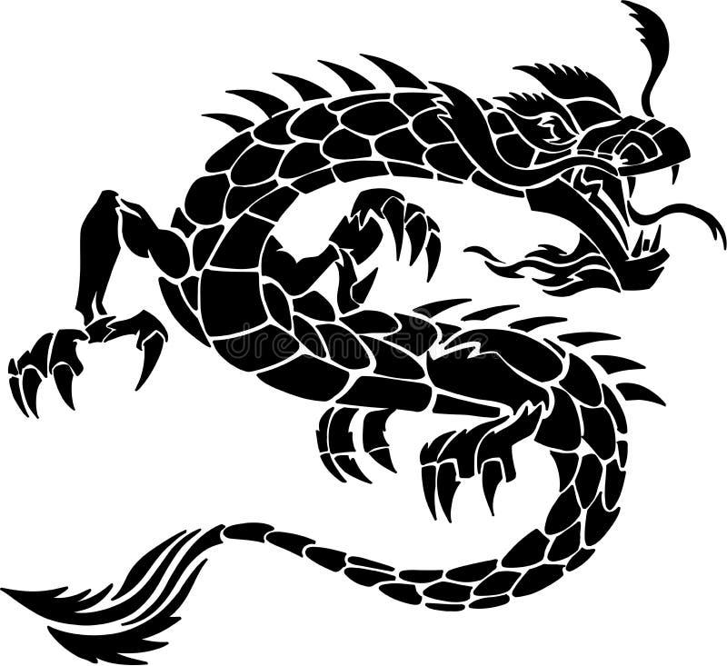 Tribal Tattoo Dragon royalty free illustration