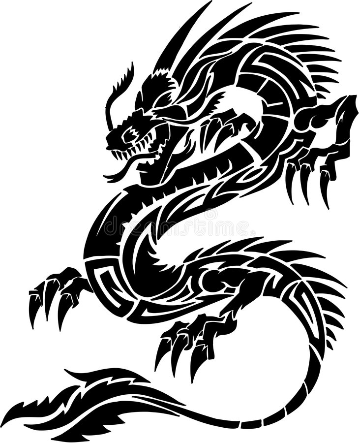 Tribal Tattoo Dragon. Vector Illustration