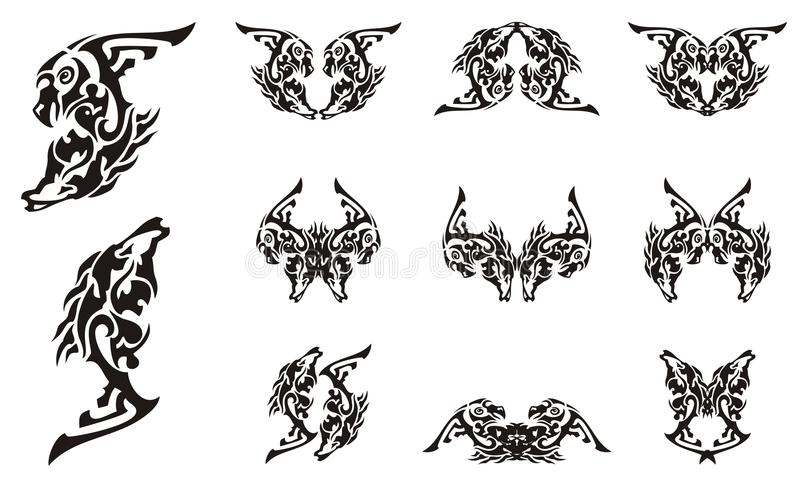 Tribal tattoo imaginary animal symbols. Abstract symbol in the form of the head of an eagle and the head of a horse. Double imaginary animal symbols in black and stock illustration