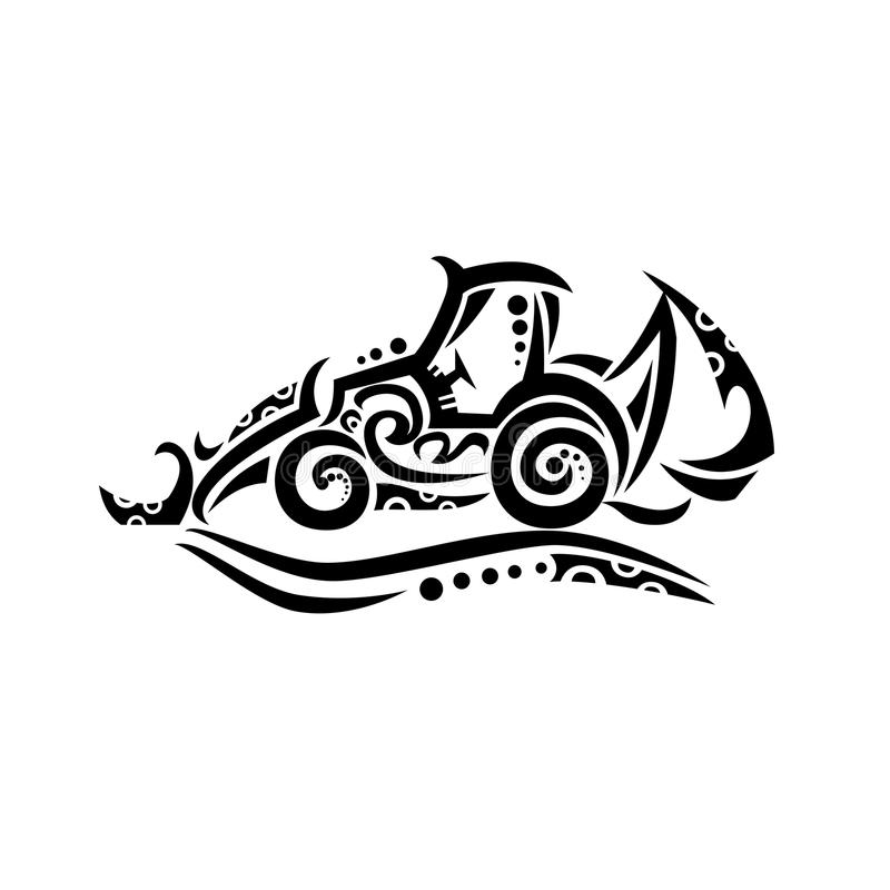 Backhoe Tribal Tattoo. Tribal tattoo style illustration of a backhoe, rear actor or back actor, a type of excavating equipment, or mechanical digger, consisting royalty free illustration