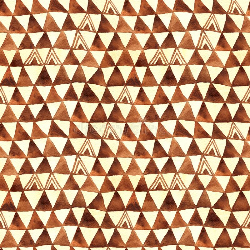 Tribal Triangles Watercolor Seamless Pattern royalty free illustration