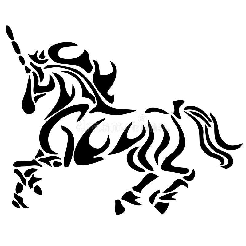 Tribal unicorn tattoo royalty free illustration