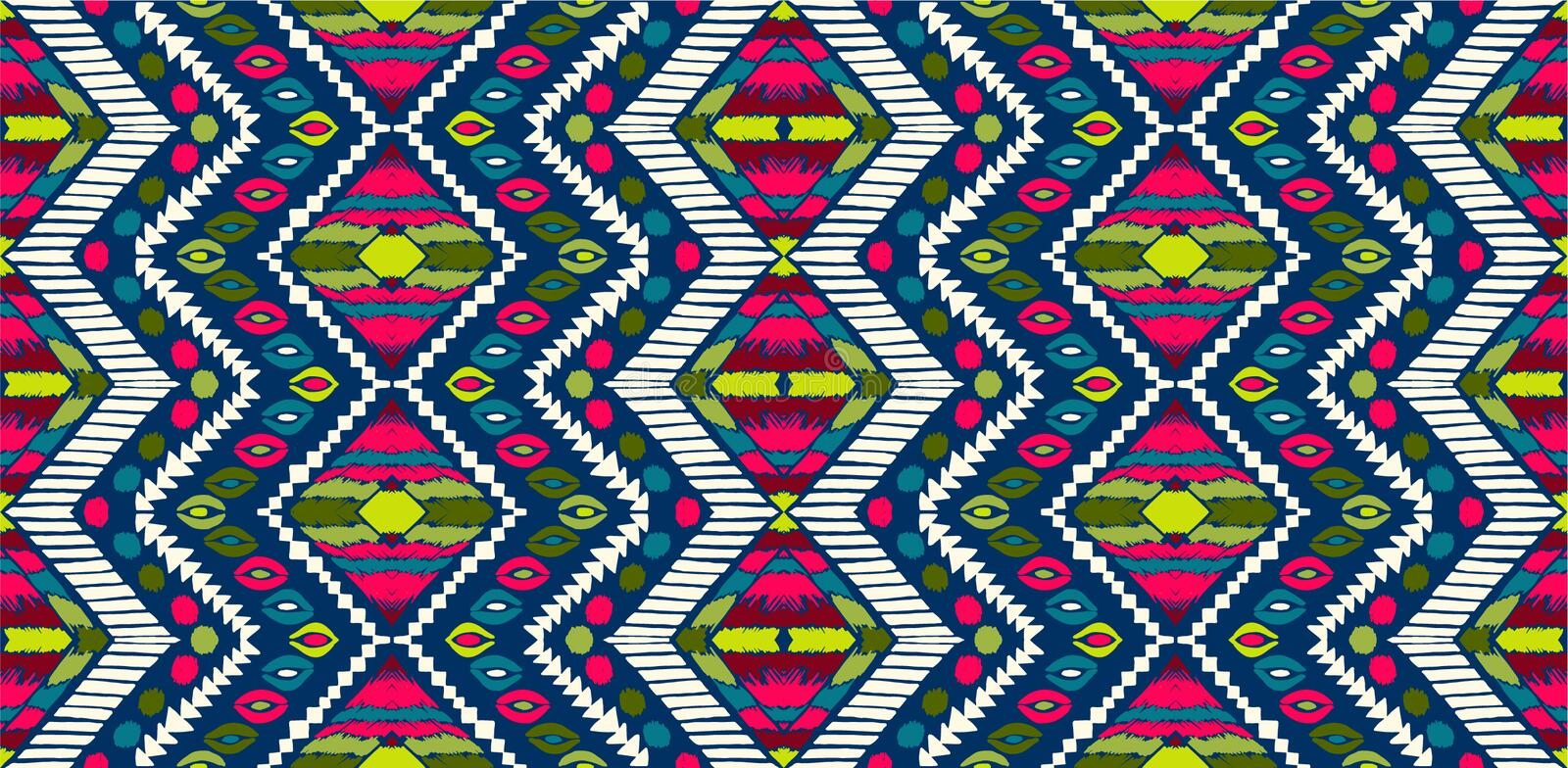 Tribal vector ornament. Seamless African pattern. Ethnic carpet with chevrons. Aztec style. stock illustration