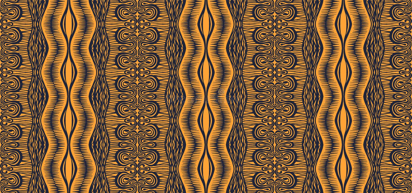 Tribal vector ornament. Seamless African pattern. Ethnic carpet with chevrons and strips. royalty free illustration