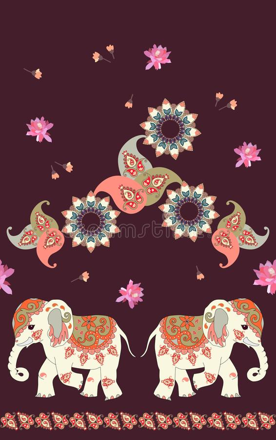 Tribal vector seamless pattern with indian elephant, mandala, flowers and paisley. Vintage ethnic background. vector illustration