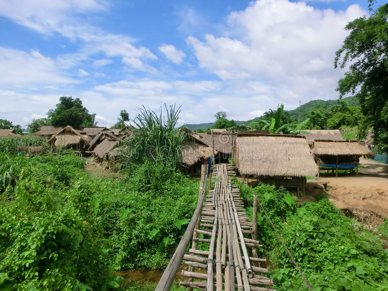 Tribal village in the north of Thailand stock photo