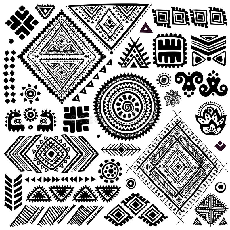 Tribal vintage ethnic pattern set stock illustration