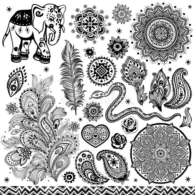 Tribal vintage ethnic pattern set vector illustration