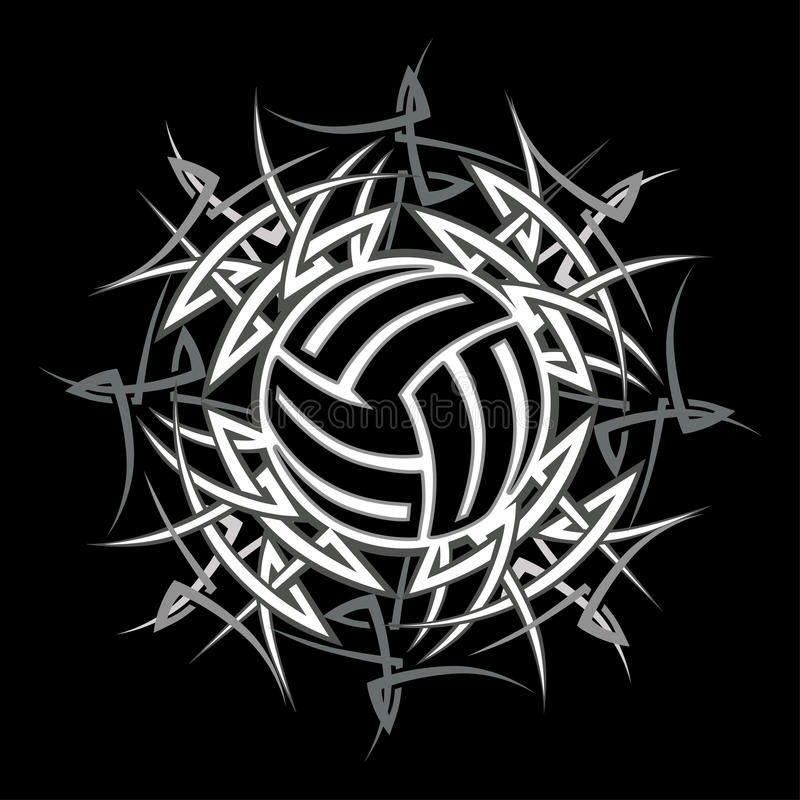 Tribal Volleyball Vector Logo Stock Photo