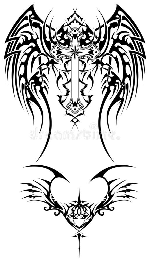 Tribal wings. Illustration for tattoo or other designs stock illustration