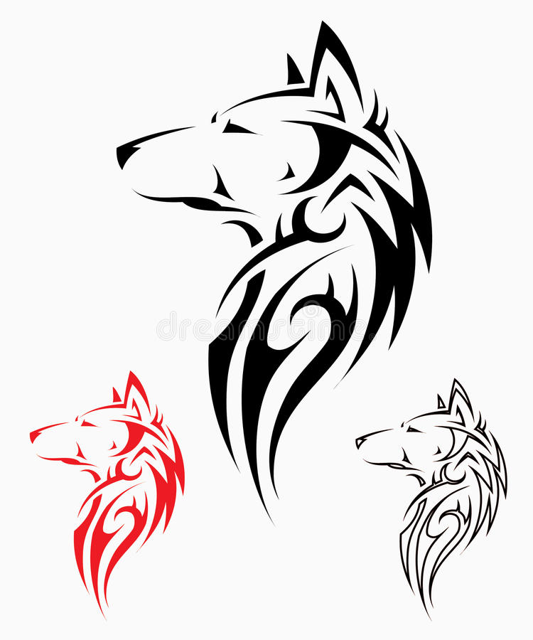 Tribal Wolf Tattoo Royalty Free Stock Image