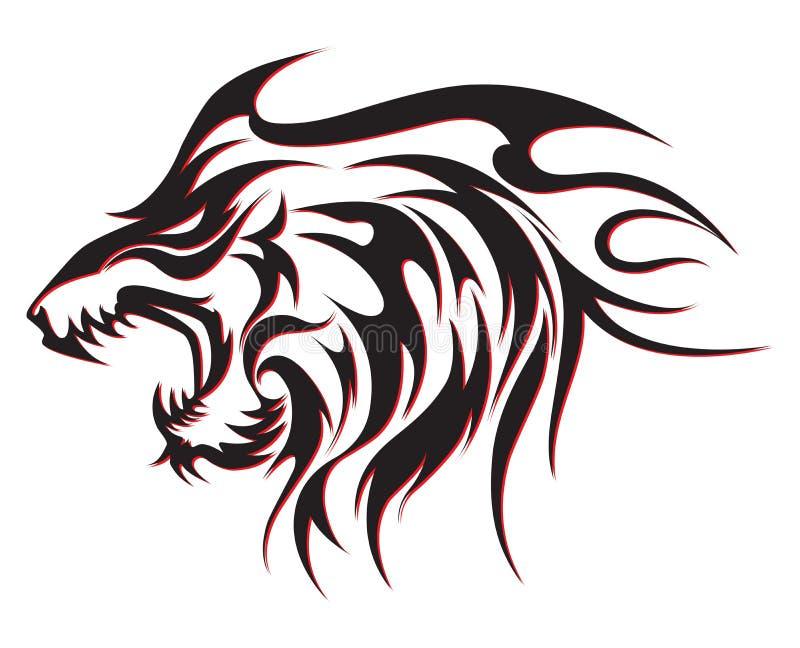 Tribal wolf tattoo stock illustration