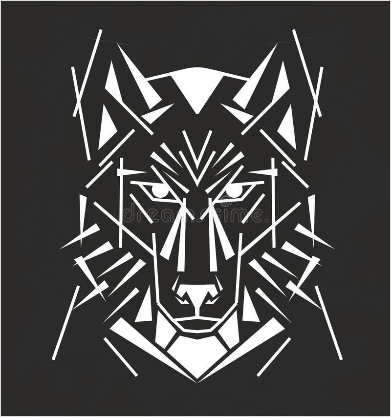 Tribal wolf tattoo royalty free illustration