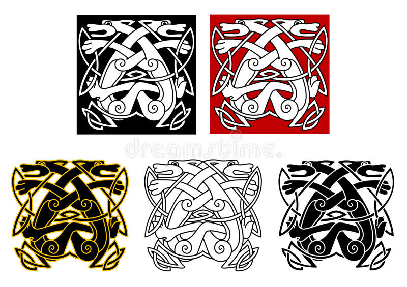 Download Tribal Wolves In Celtic Style Stock Vector - Illustration: 31654368